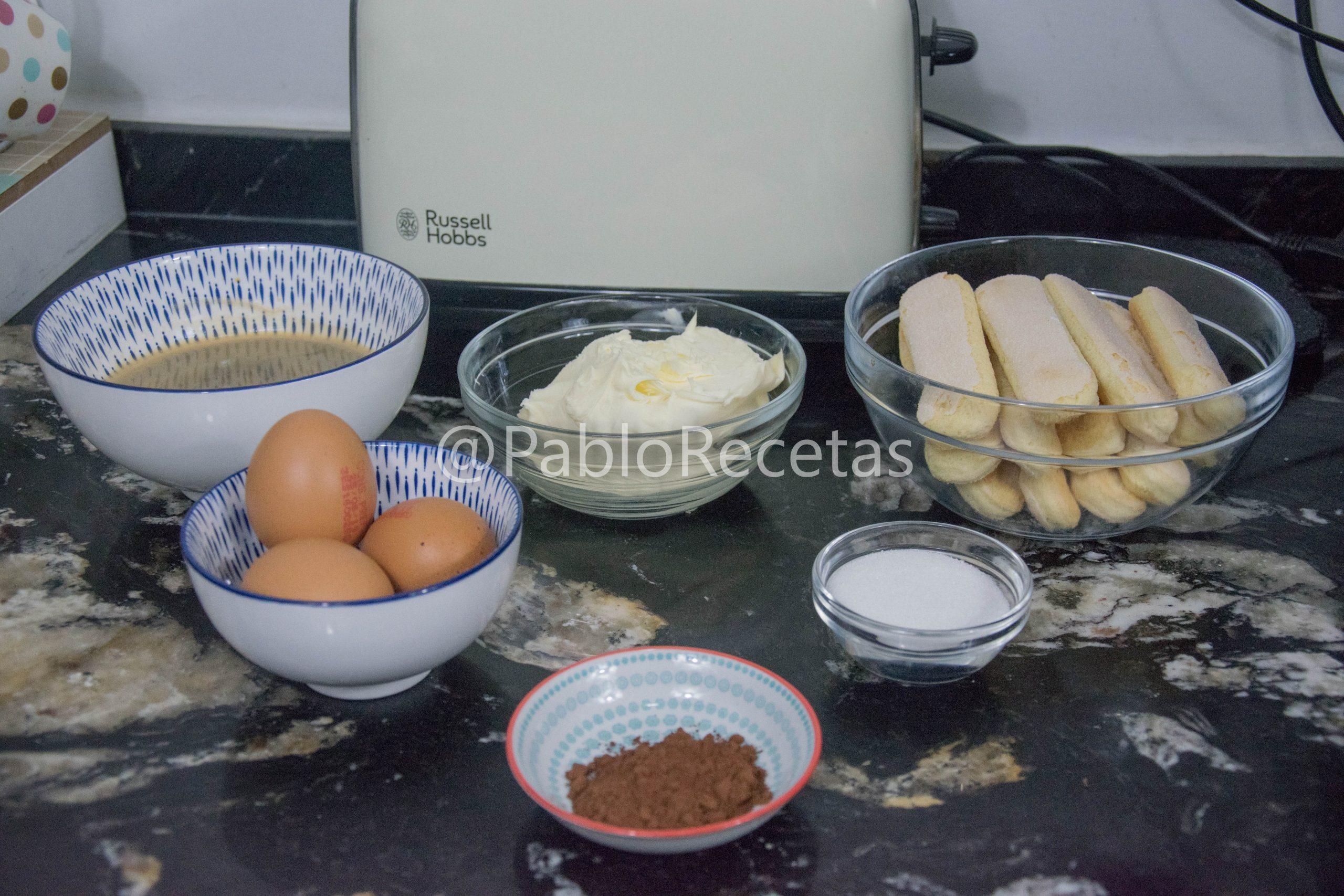 Ingredientes Tiramisú.